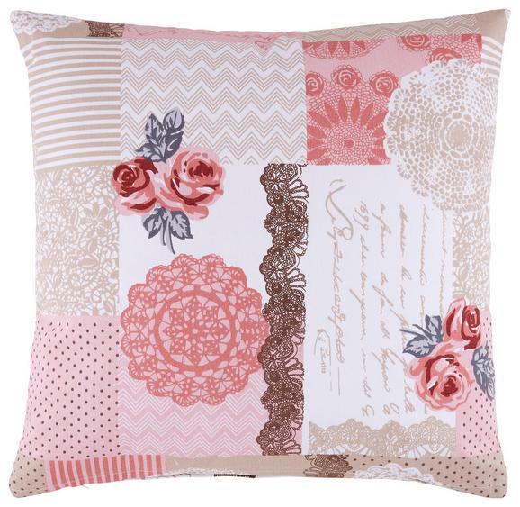 Zierkissen Patch Pink 45x45cm - Pink, ROMANTIK / LANDHAUS, Textil (45/45cm) - ZANDIARA