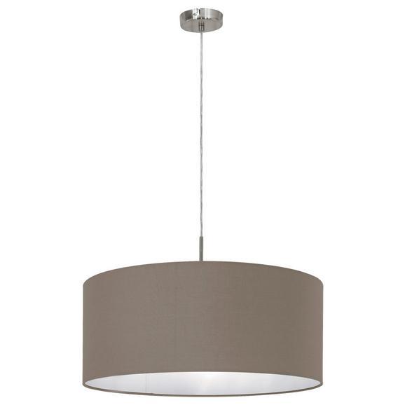 Hängeleuchte max. 60 Watt 'Pasteri' - Taupe/Nickelfarben, MODERN, Textil/Metall (53/110cm)