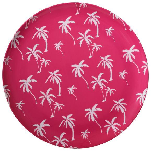 Speiseteller Lady Palmx Ø ca. 25,2cm - Pink/Weiß, Kunststoff (25,2cm) - Modern Living