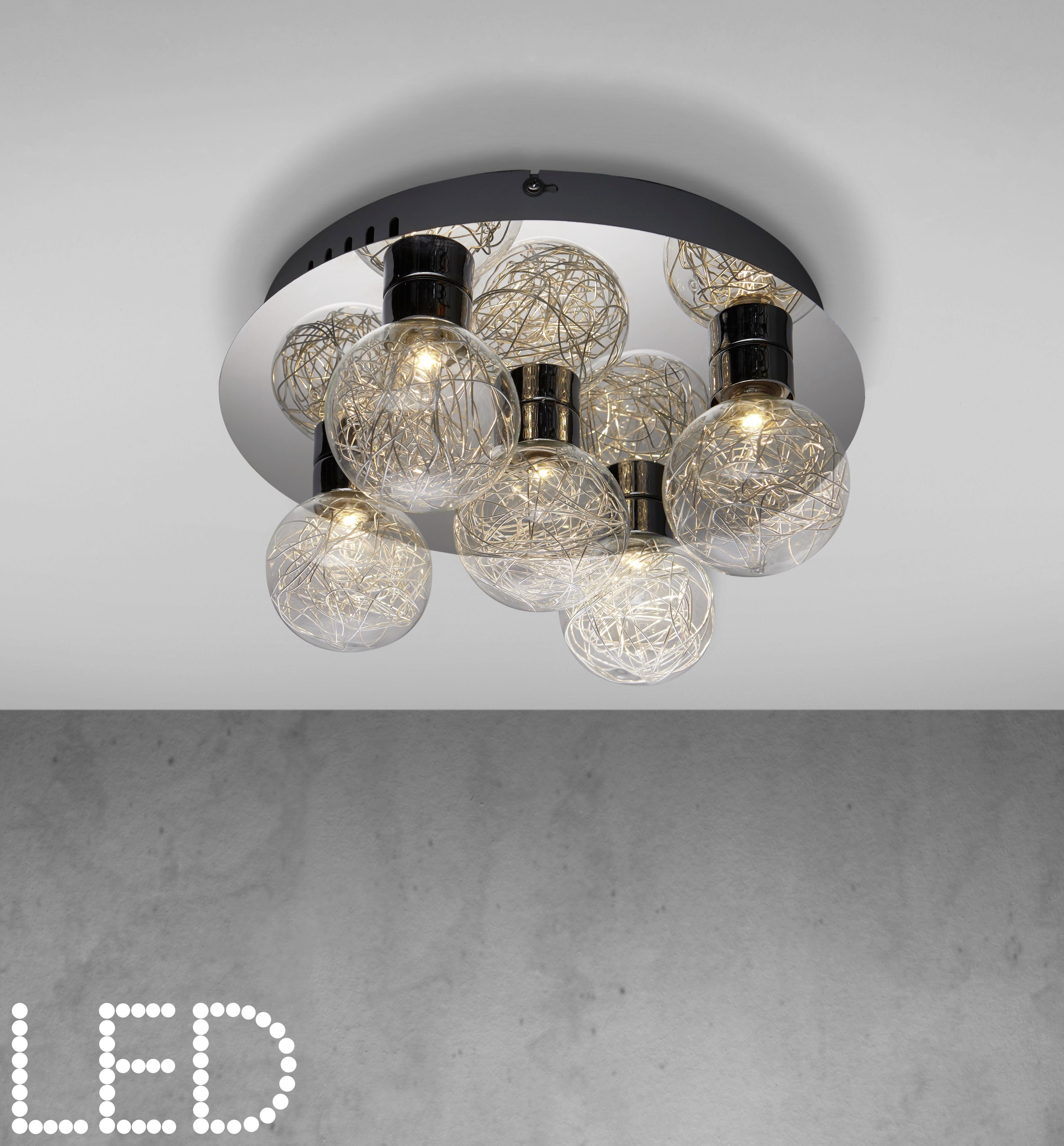 LED-Deckenleuchte Mathis - Chromfarben, MODERN, Glas/Kunststoff (32/14cm) - MÖMAX modern living