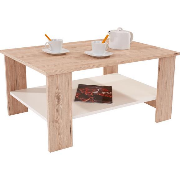 Măsuţă Paolo - alb/culoare lemn stejar, Modern, compozit lemnos (90/41/55cm)