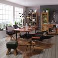 Armlehnstuhl in Grau - Dunkelgrau/Eichefarben, Holz/Textil (60/83/50/65cm) - Premium Living