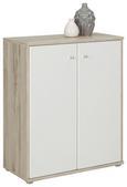 Kommode Weiß/Sandfarben - Sandfarben/Alufarben, MODERN, Holzwerkstoff/Kunststoff (72/86/34cm)