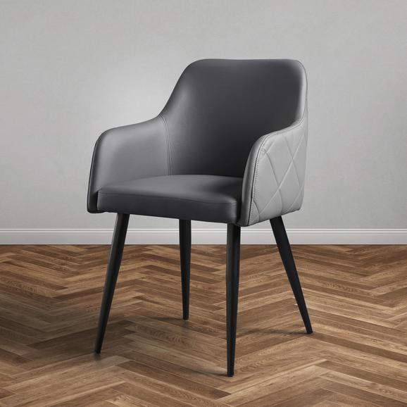 Stuhl Andre - Schwarz/Grau, MODERN, Holz/Textil (60/82,5/56cm) - Modern Living