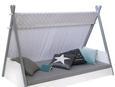 Bett in Grau ca.90x200cm - Weiß/Grau, MODERN, Holz/Textil (207/137/107cm) - Zandiara