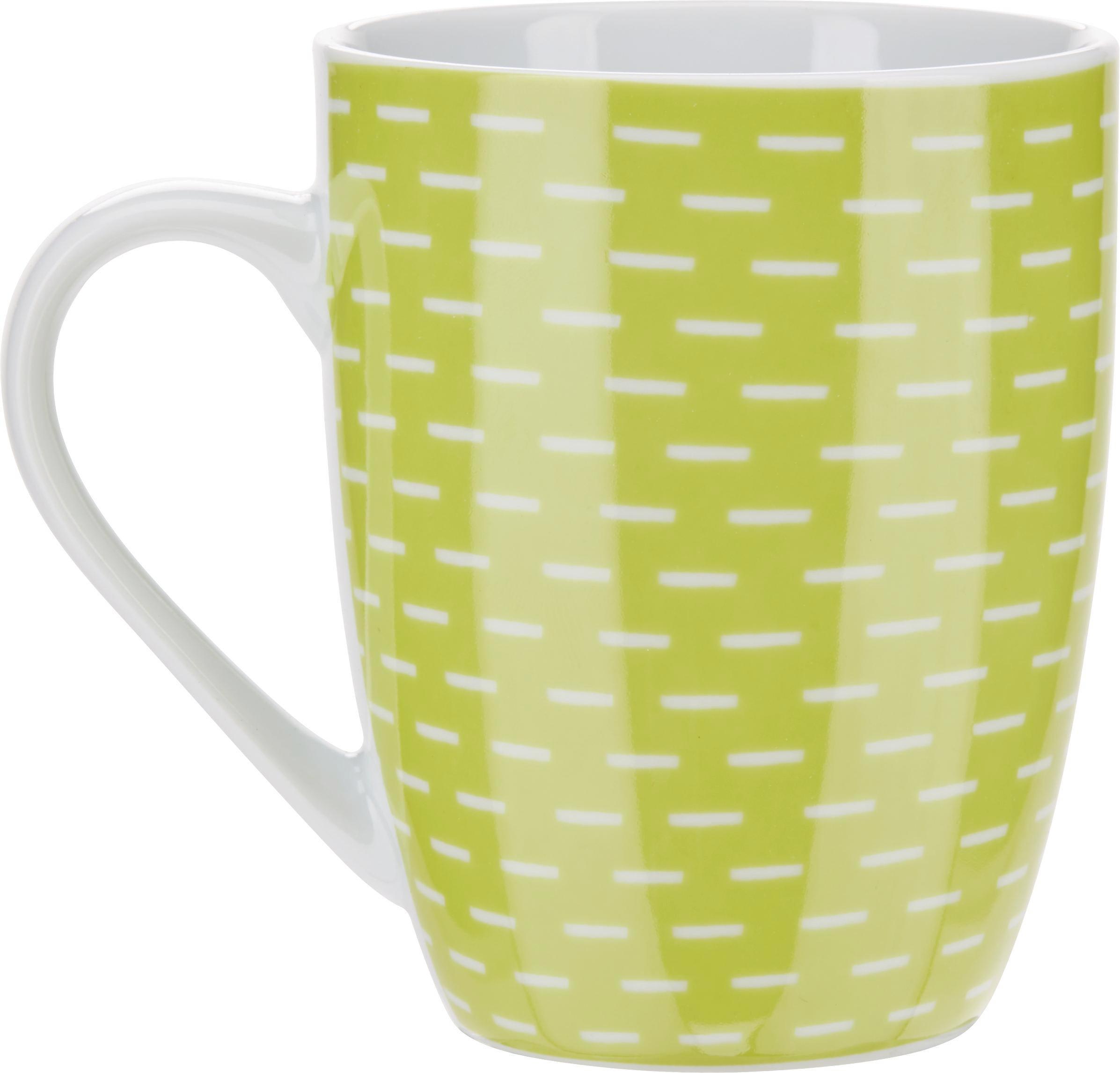 Kaffeebecher Shelly in Grün/Weiß - Weiß/Grün, Keramik (8,6/10,5cm) - MÖMAX modern living