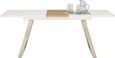 Esstisch Weiß/Natur - Edelstahlfarben/Naturfarben, MODERN, Holzwerkstoff/Metall (160-200/76/90cm) - MODERN LIVING