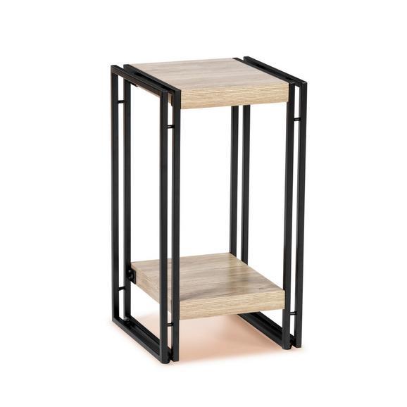 Suport Înalt Flori Scott 4 - culoare lemn stejar/negru, Modern, compozit lemnos/metal (30/55/30cm) - Ombra