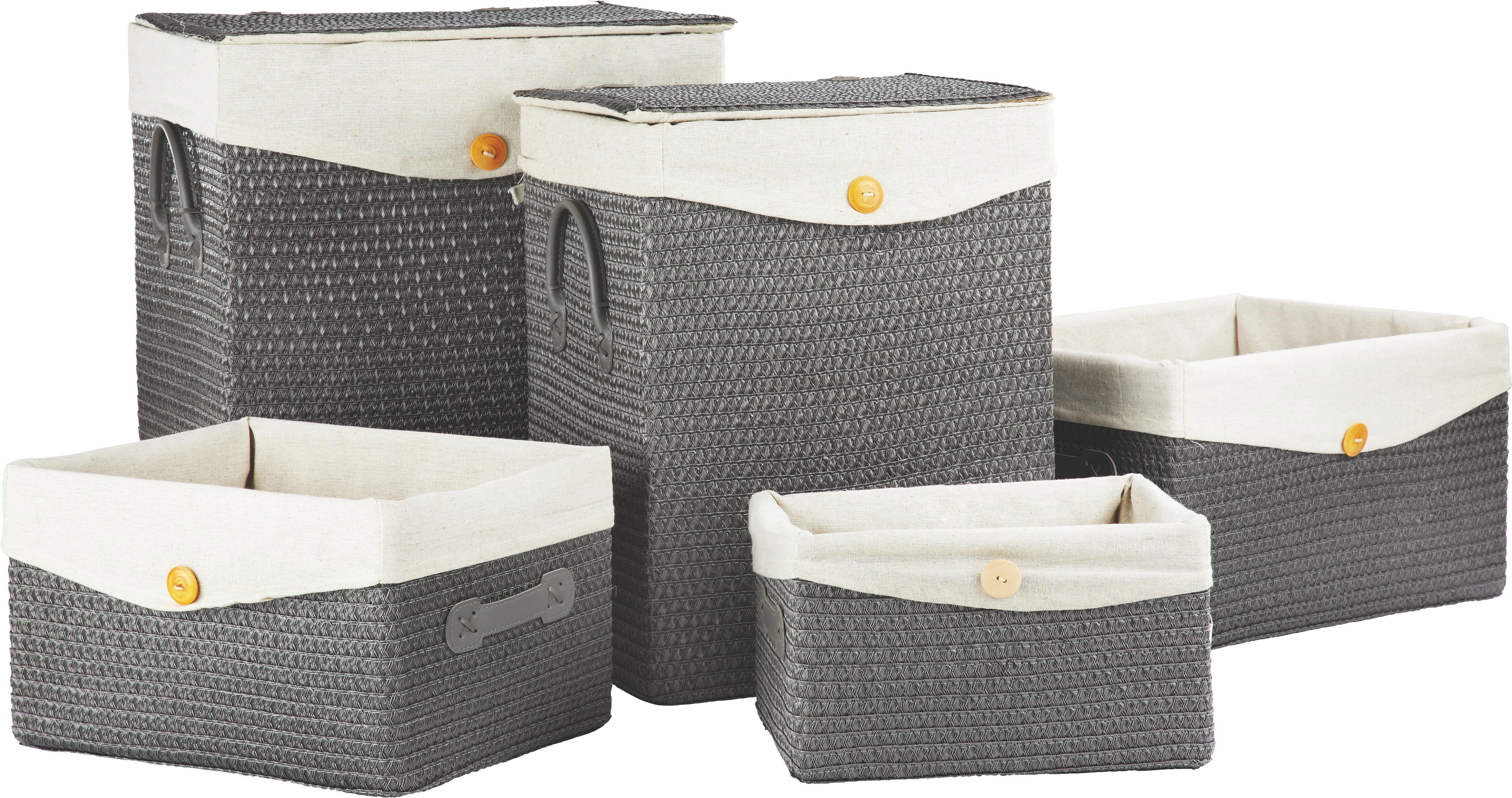 Tárolókosár Denise - szürke, romantikus/Landhaus, műanyag/textil (35/20/26cm) - MÖMAX modern living
