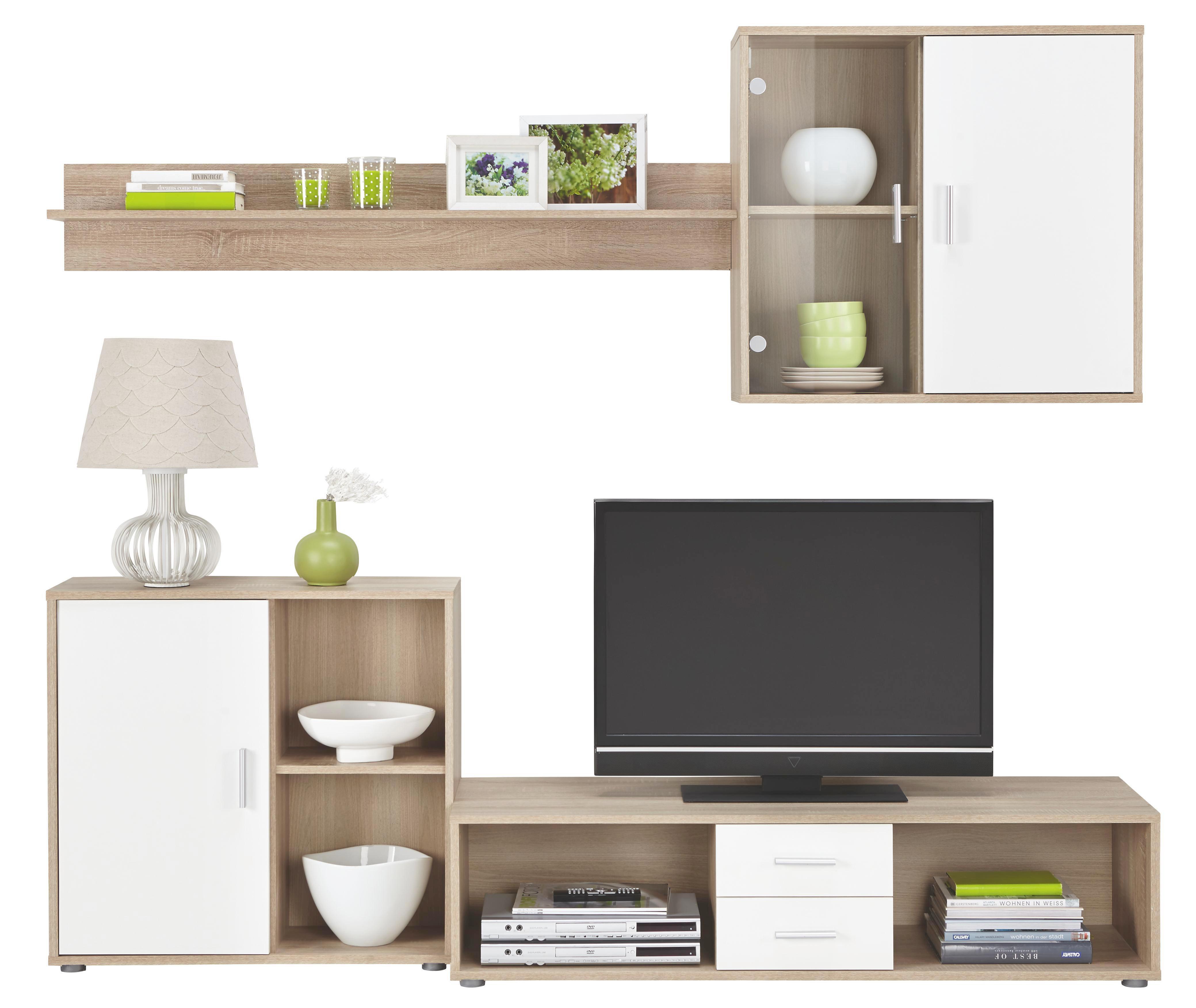 Wohnwand holz weiß  Wohnwand in Weiß/Eiche online kaufen ➤ mömax
