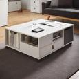 Couchtisch Mick - Weiß, MODERN, Leder/Holz (88/35/74cm) - Modern Living