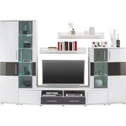 Wohnwand in Weiß/Grau Hochglanz - Weiß/Grau, MODERN, Holz (296/198/50cm) - Modern Living