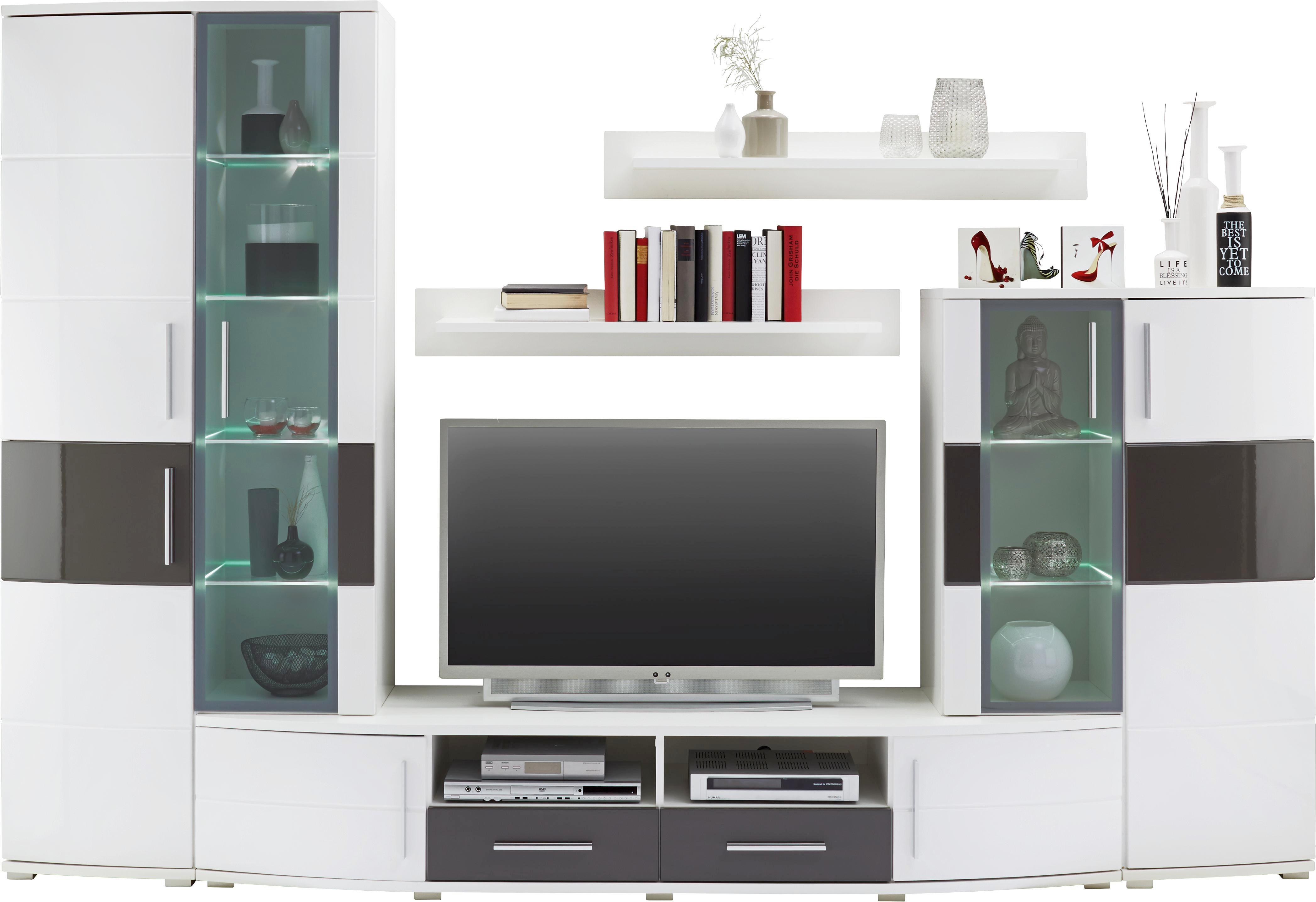 Wohnwand weiß hochglanz mit holz  Wohnwand in Weiß Hochglanz online kaufen ➤ mömax