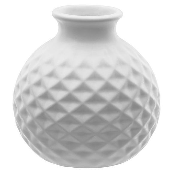Vase Jarla in verschiedenen Farben - Petrol/Weiß, Stein (11/11cm)