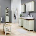 Waschbeckenunterschrank Weiß/Buchefarben 'Jule' - Weiß, MODERN, Holz/Metall (69/68/38cm) - Bessagi Home