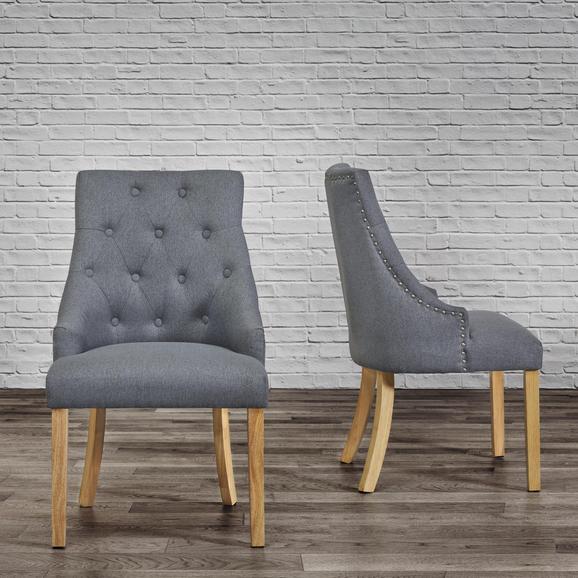 Stuhl Mila - Dunkelgrau/Eichefarben, MODERN, Holz/Textil (56,5/93,5/63cm) - Modern Living