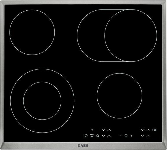 Glaskeramikkochfeld AEG Hk634060xb, 4 Kochzonen - KONVENTIONELL, Glas/Metall (57,6/3,8/51,6cm) - AEG