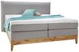 Boxspringbett in Grau ca. 140x200cm - Eichefarben/Grau, KONVENTIONELL, Holz/Textil (140/200cm) - Premium Living