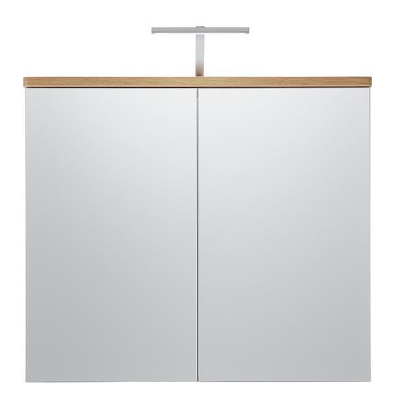 Spiegelschrank Weiß/Eichefarben - Eichefarben/Weiß, MODERN, Glas/Holzwerkstoff (80/70/16cm)