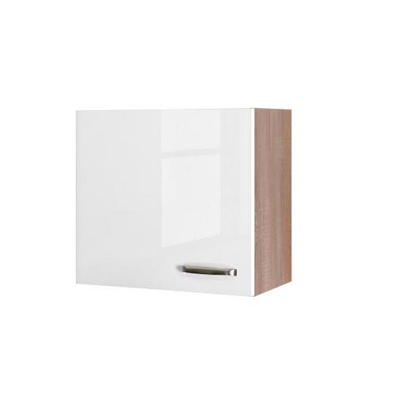 Küchenoberschrank Weiß Hochglanz/Eiche - Edelstahlfarben/Eichefarben, MODERN, Holzwerkstoff/Metall (60/54/32cm)