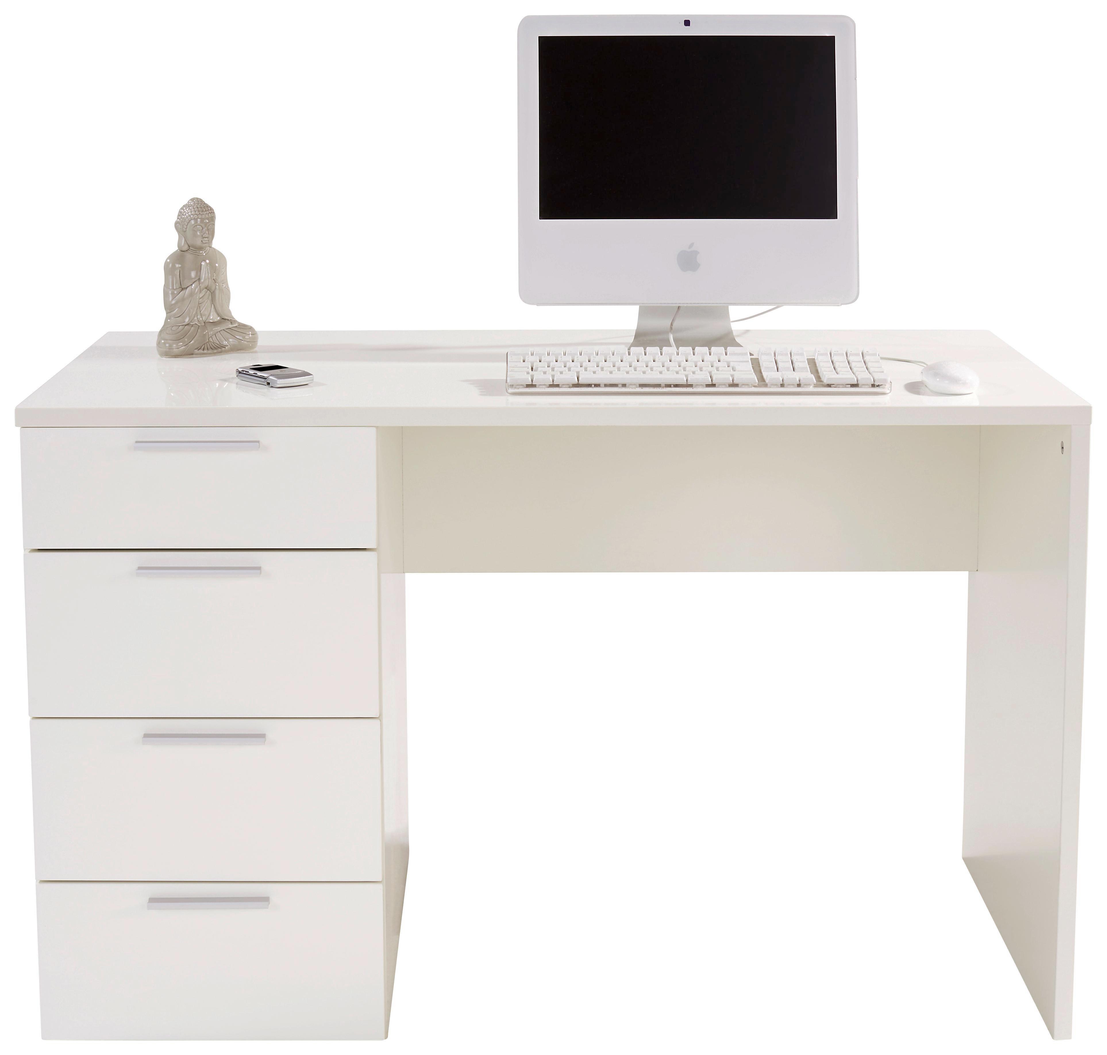 Íróasztal Livona Ii - fehér, modern, faanyagok (120/75/60cm)