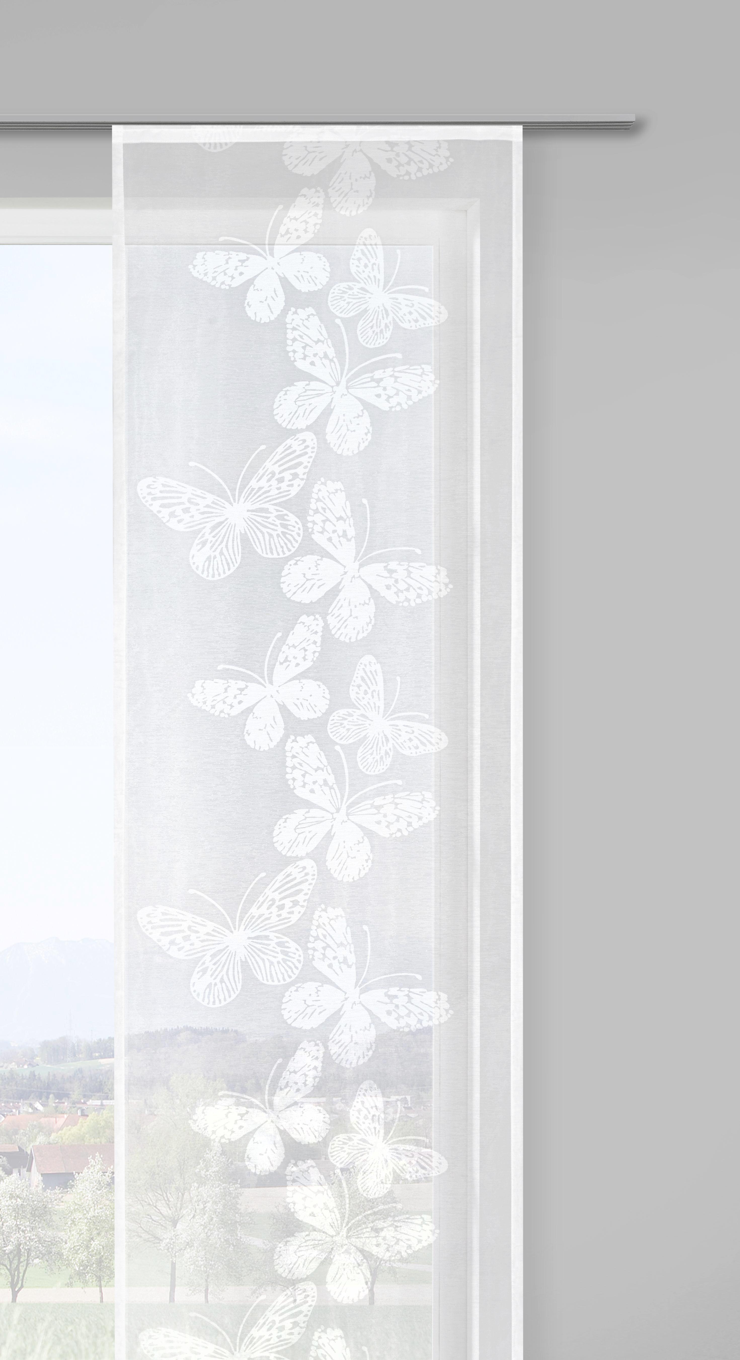 Flächenvorhang Papillon, ca. 60x245cm - Weiß, ROMANTIK / LANDHAUS, Textil (60/245cm) - MÖMAX modern living