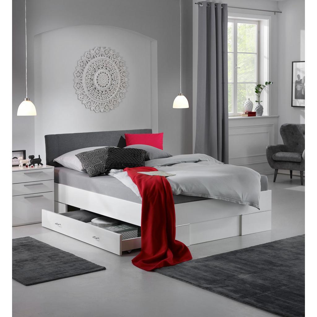 Bett Weiß/Anthrazit 140x200cm