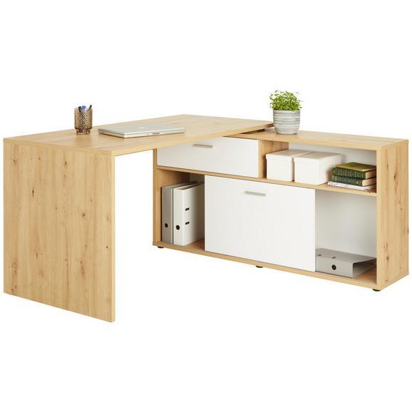 Schreibtisch in Eichefarben/Weiß - Chromfarben, MODERN, Holzwerkstoff/Kunststoff (138/75/68cm)