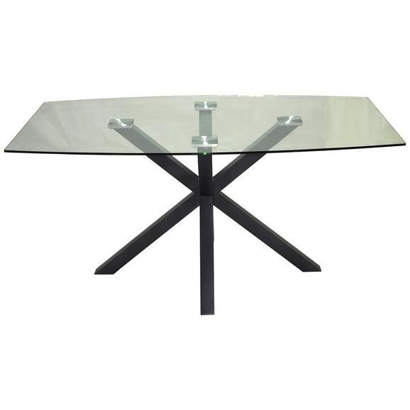 Esstisch aus Glas - Klar/Schwarz, LIFESTYLE, Glas/Metall (160/76/90cm) - Modern Living