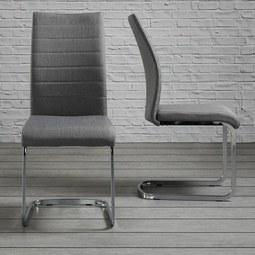 Stuhl Lennard - Chromfarben/Hellgrau, MODERN, Holz/Textil (45/99/45cm) - Modern Living