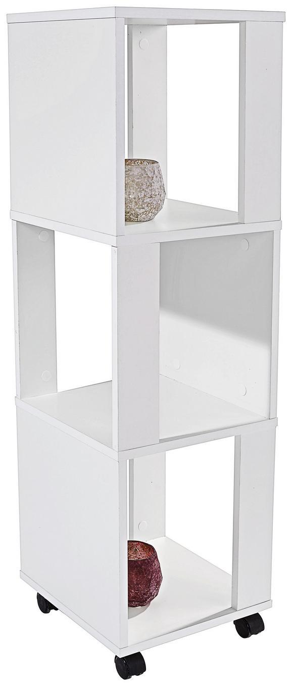 Polc Rolly 2 - Fehér, modern, Faalapú anyag/Műanyag (34/111/34cm)