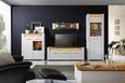 Highboard Weiß/Eiche - Chromfarben/Eichefarben, MODERN, Glas/Holzwerkstoff (100/116,5/40cm) - Modern Living