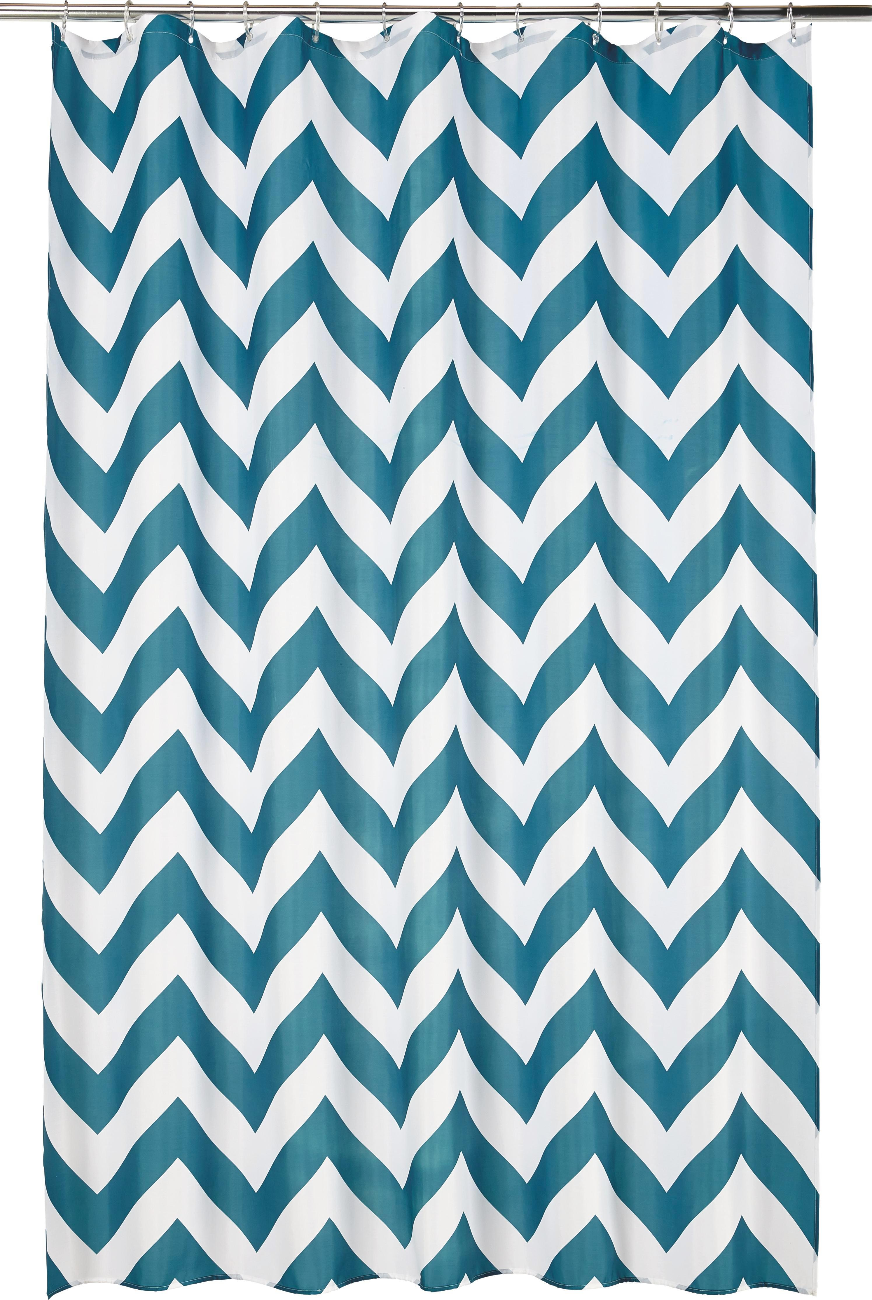 Zuhanyfüggöny Chevron Türkis - türkiz/fehér, Lifestyle, textil (180/200cm) - MÖMAX modern living