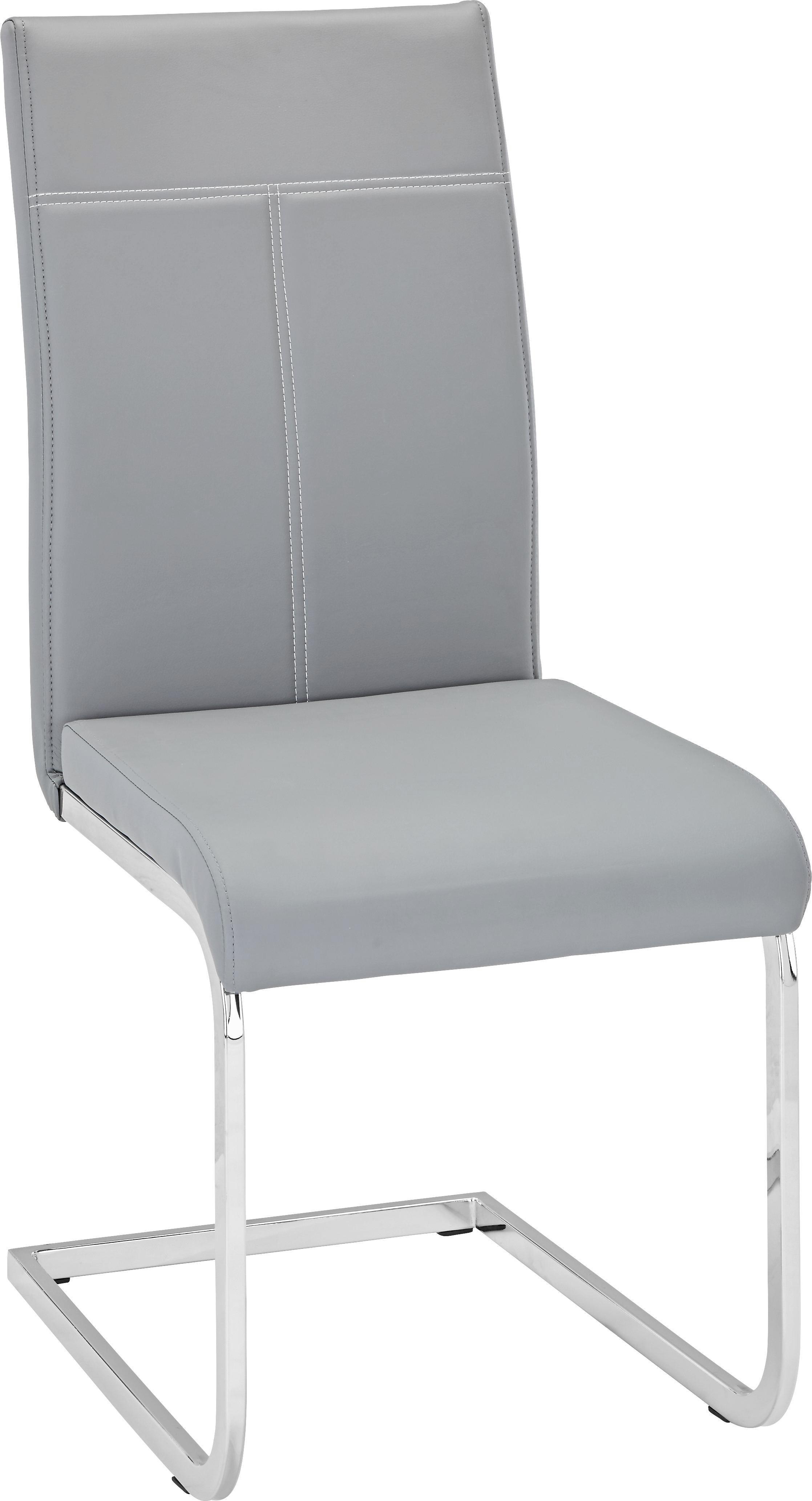 Schwingstuhl in Grau - Chromfarben/Weiß, MODERN, Textil/Metall (44/98/59cm) - MÖMAX modern living