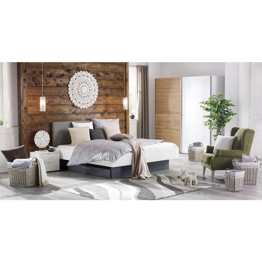 Bett Graphitfarben/Weiß 180x200cm