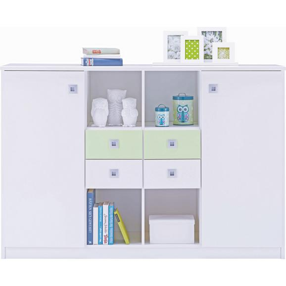 Komoda Sunny - aluminij/bela, Moderno, umetna masa/les (155/105/41cm) - Premium Living