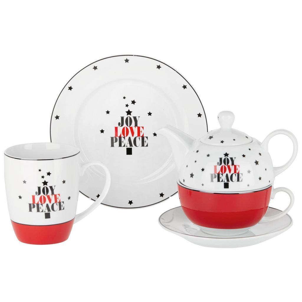 Teeset Joy Rot/Schwarz/Weiß,3-tlg.