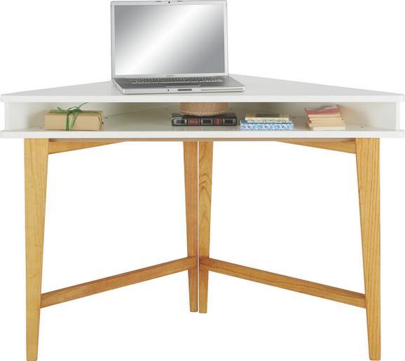 Kotna Pisalna Miza Durham - bela/rjava, Moderno, leseni material/les (115/76/55cm) - Zandiara