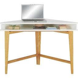 Sarok-íróasztal Durham - Barna/Fehér, modern, Faalapú anyag/Fa (115/76/55cm)