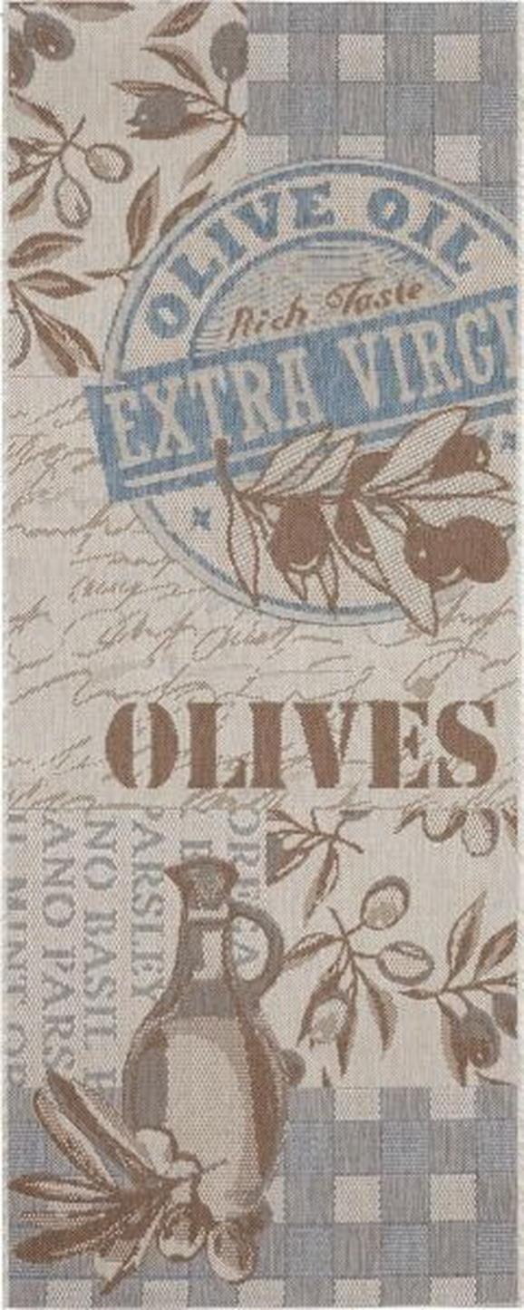 Flachwebeteppich Olives, ca. 80x200cm - Blau, MODERN (80/200cm) - MÖMAX modern living