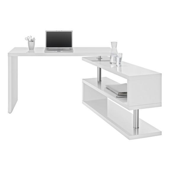 Masă De Birou Matteo - alb/culoare crom, Modern, compozit lemnos/metal (130/76/128,5cm) - Modern Living