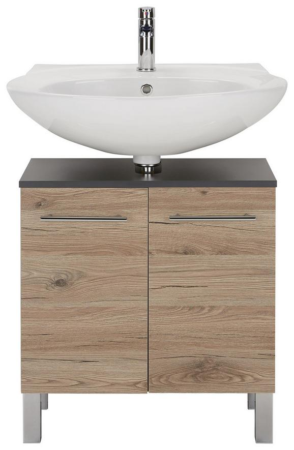 Waschbeckenunterschrank Eiche/Anthrazit - Chromfarben/Eichefarben, MODERN, Holzwerkstoff/Metall (60/55/31cm)