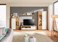 TV-Element Weiß/Eichefarben - Eichefarben/Silberfarben, KONVENTIONELL, Holzwerkstoff/Kunststoff (160/48/45cm) - Modern Living