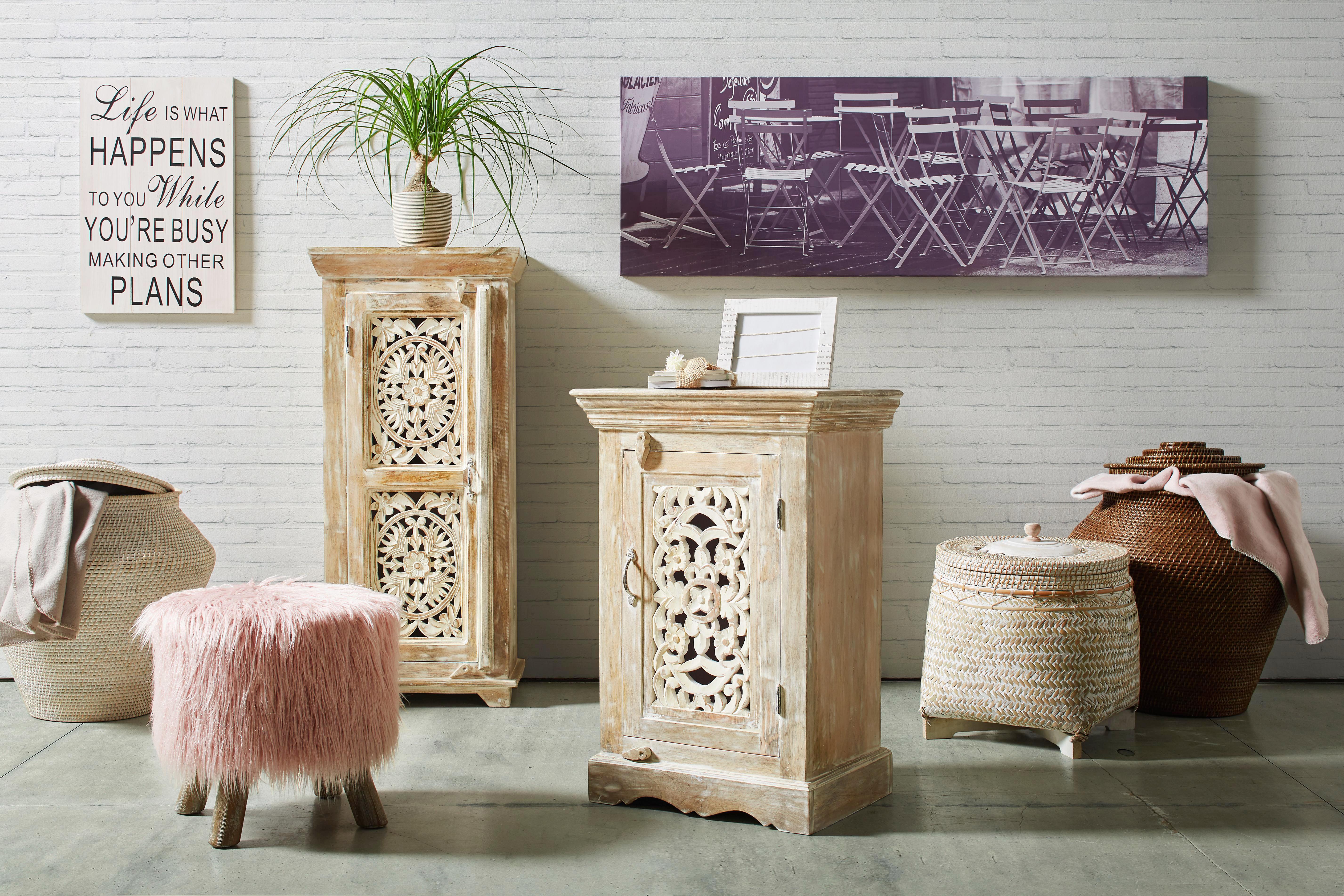 Hocker in Rosa - Rosa/Weiß, MODERN, Holz/Textil (38/39cm) - MODERN LIVING