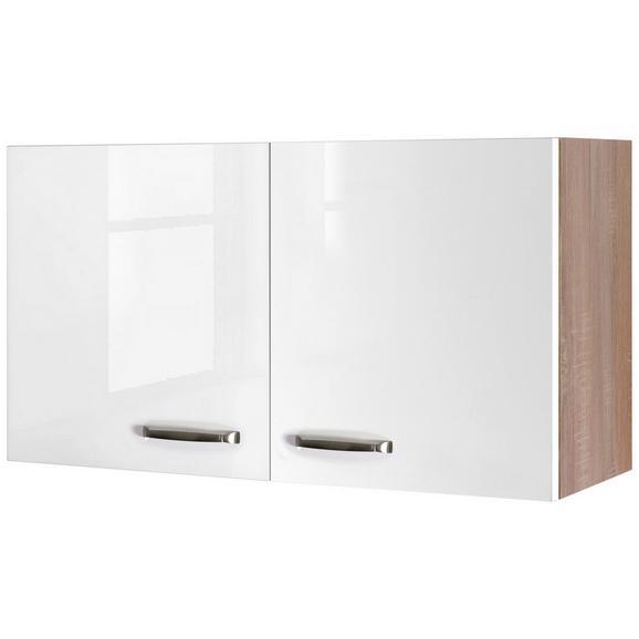 Küchenoberschrank Weiß Hochglanz/Eiche - Edelstahlfarben/Eichefarben, MODERN, Holzwerkstoff/Metall (100/54/32cm)