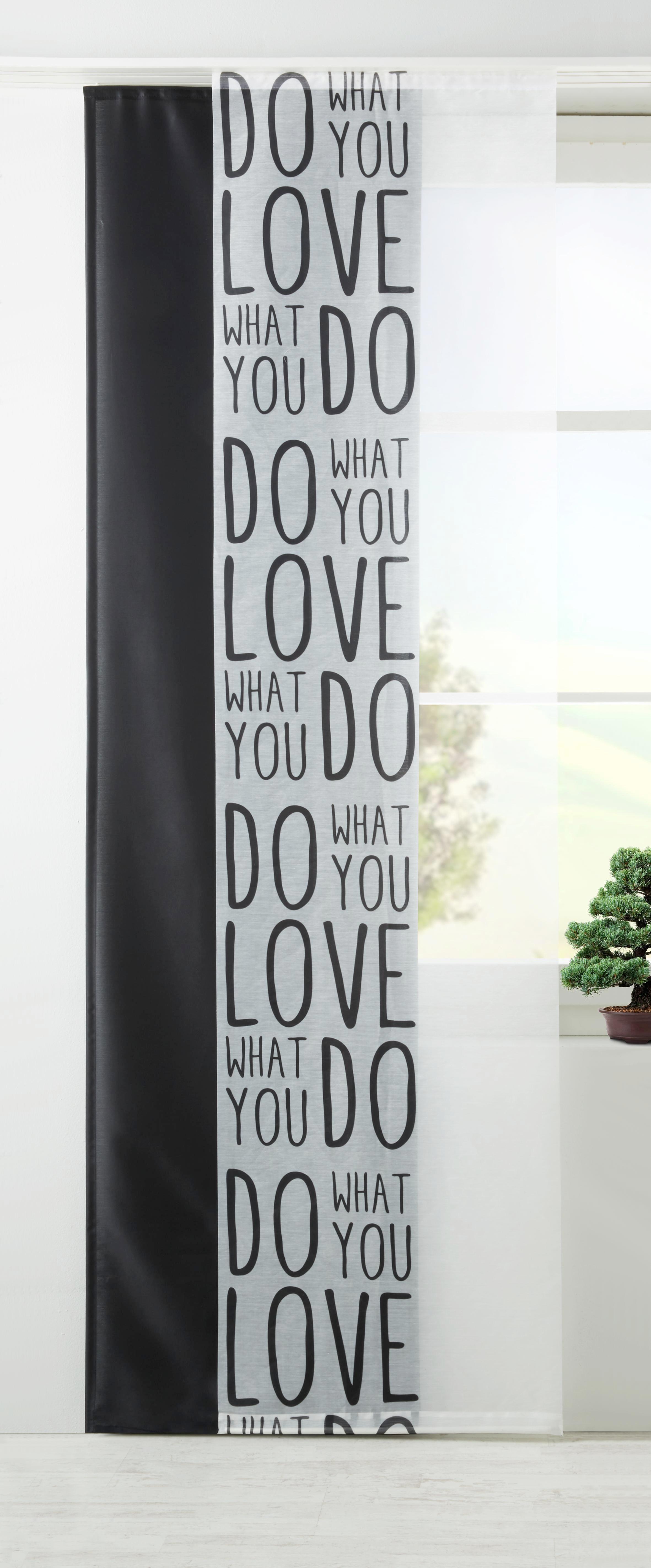 Lapfüggöny Love - fekete/fehér, modern, textil (60/245cm) - MÖMAX modern living