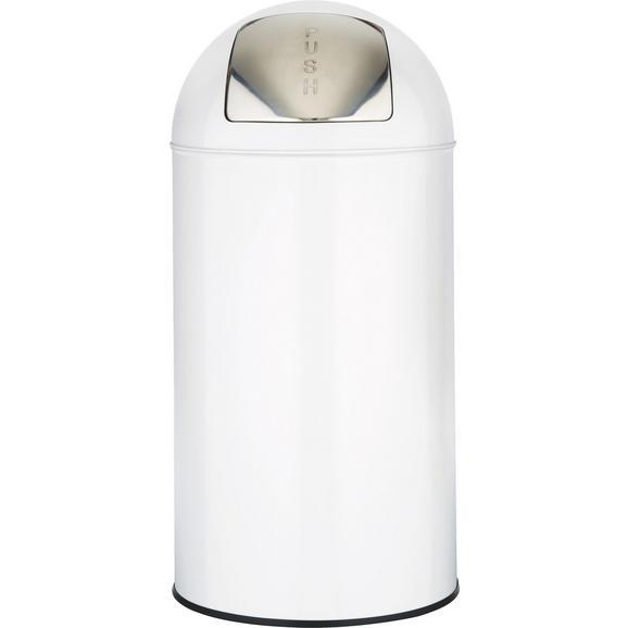 Abfalleimer Push Can Weiß/Edelstahl - Edelstahlfarben/Zinkfarben, Metall (35/76cm) - Mömax modern living