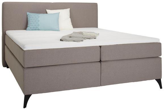 Boxspringbett in Beige ca. 180x200cm - Beige/Schwarz, KONVENTIONELL, Holzwerkstoff/Textil (180/200cm) - Modern Living