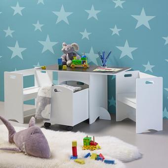 Kindersitzgruppe Melly inkl.stauraum& Tafeloberfläche - Weiß, MODERN, Holz (80/46/45cm) - Mömax modern living