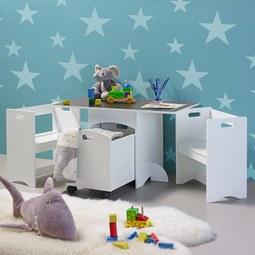 Kindersitzgruppe Melly inkl.stauraum& Tafeloberfläche - Weiß, MODERN (80/46/45cm) - Mömax modern living